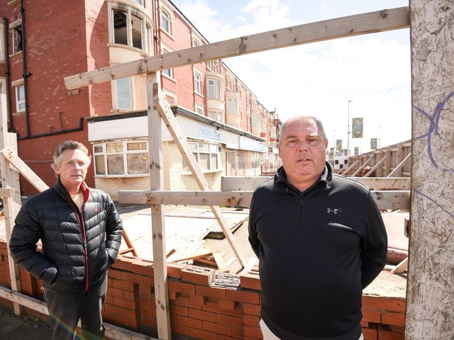 Frustrated B&B owners are fed up with fly-tipping at the derelict New Hackett's hotel. Pictured are Michael Higgins from The Pembroke and Mark King from The Beaucliffe.
