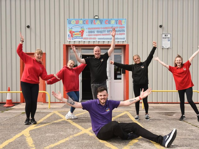 Bounce Play Centre staff in Bispham celebrate its upcoming reopening. Picture: Daniel Martino/JPI Media