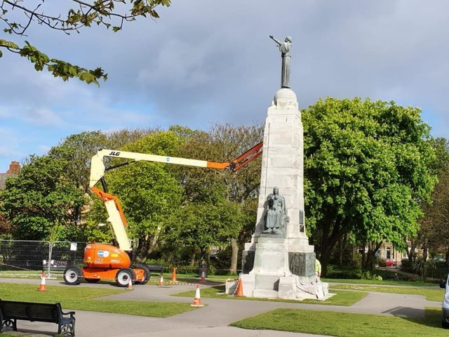 Claning of the Grade II-listed war memorial is part of the refurbishment programme at Ashton Gardens