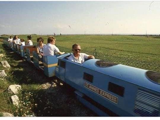 The late Harry Leeming driving the miniature train on St Annes seafront