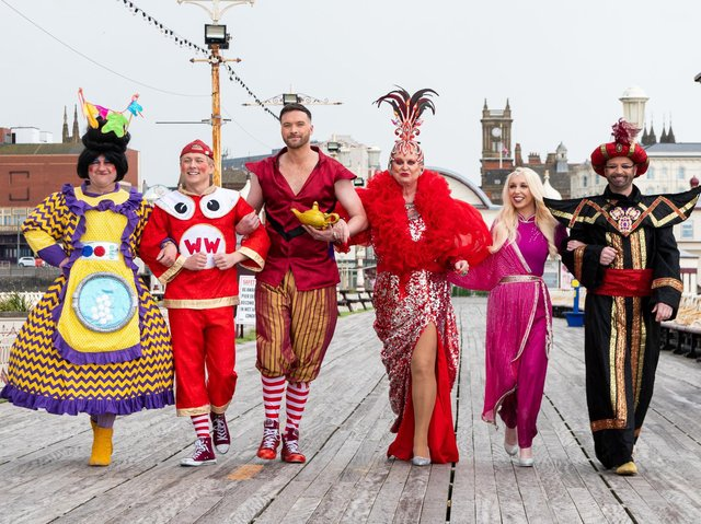 The cast of Aladdin and His Magic Ring on Blackpool North Pier.