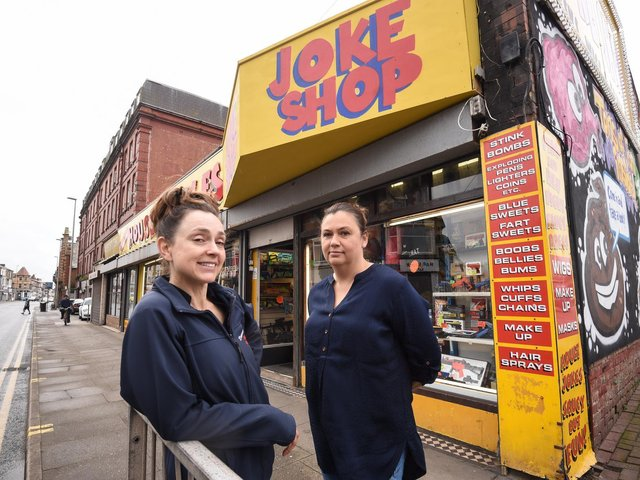 Drummers House of Jokes on Central Drive is under threat of closure.  Pictured are sisters Adeline Langton and Samantha Harper.
