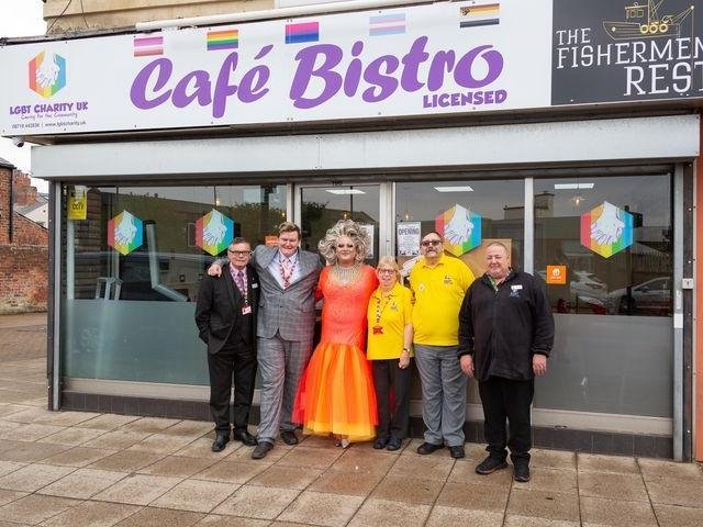 The official launch of the Fishermens Rest cafe bisto: From left, John Conway,Luke Conway, The Duchess, Helen Jones (volunteer), David Malett (trustee), Raymand Castle (duty manager and volunteer)