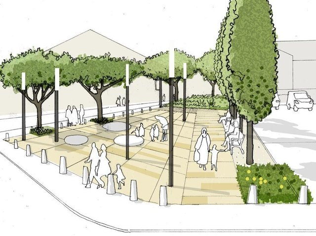 An artist's impression of the new urban park proposals for Custom House Lane in Fleetwood.