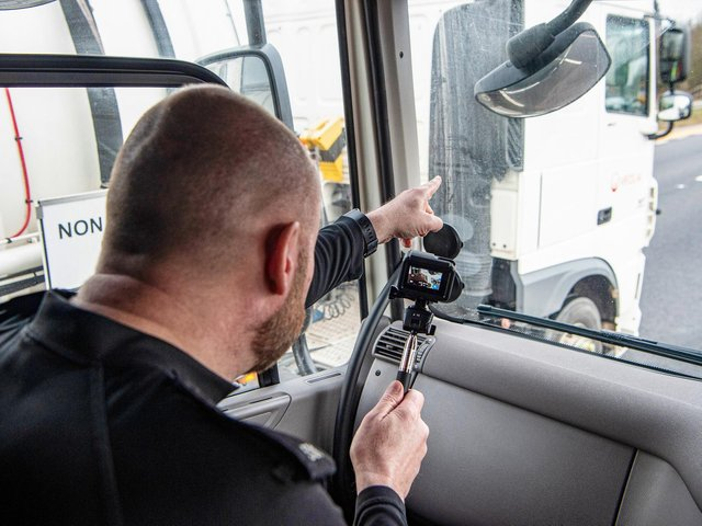Police officers use the elevated position in an unmarked HGV cab to spot drivers committing motoring offences, such as using mobile phones. The cabs will be patrolling the M6 through the region this week.  Pictures courtesy Highways England