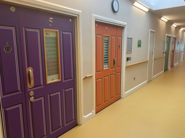 Door wraps have been applied to dementia patients' doors at The Harbour hospital, to help them feel more safe and to reduce anxiety. Picture: Lancashire and South Cumbria NHS Foundation Trust