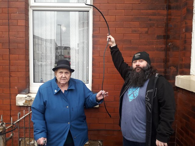 Ena Ross and neighbour Alan Brunt were both affected after power cables outside their flats were cut.