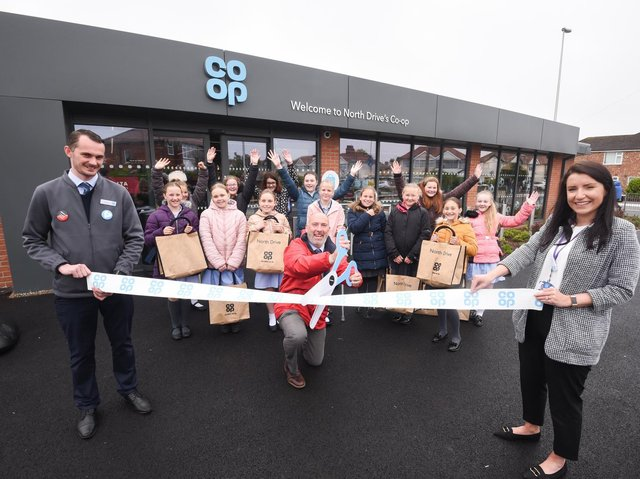 North Drive's new Co-op store was officially opened by Anchorsholme Academy's school choir and headteacher Mr Dow. Picture: Daniel Martino/JPI Media