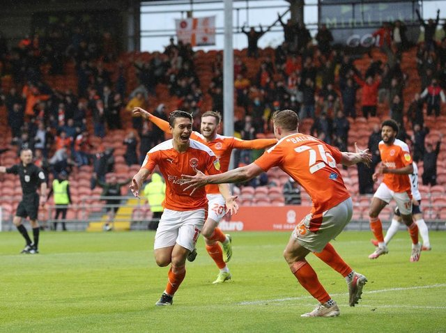 Dougall celebrates after scoring Blackpool's second goal of the night