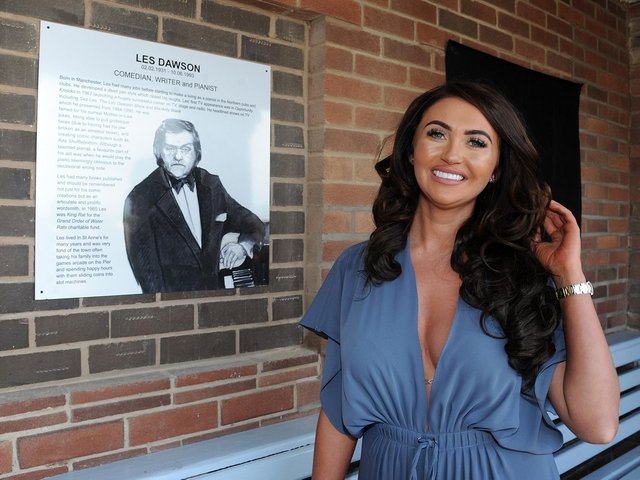 Charlotte Dawson with her late father Les Dawson's plaque in St Annes