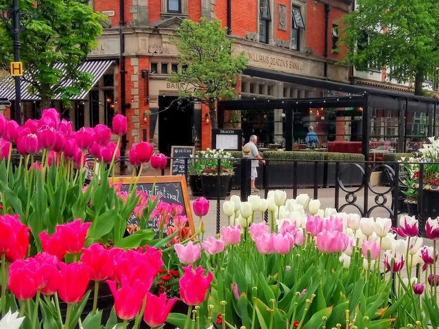 An eye-catching floral display in Lytham Square