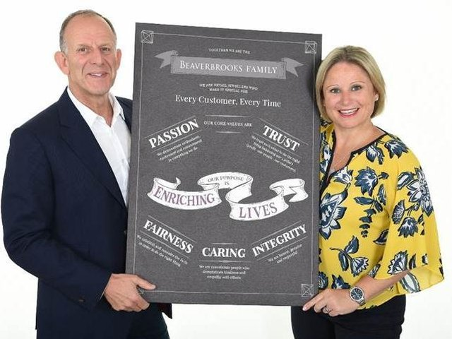 Beaverbrooks has been voted the best retailer to work for in the UK. Pictured are chairman Mark Adlestone and managing director Anna Blackburn