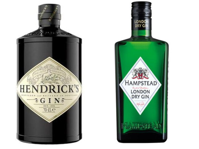 Hendrick's Gin on the left, and Lidl's Hampstead Gin on the right