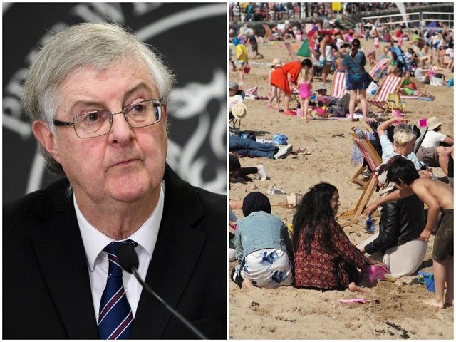Pictured left, Mark Drakeford, the Welsh First Minister, right, Llandudno