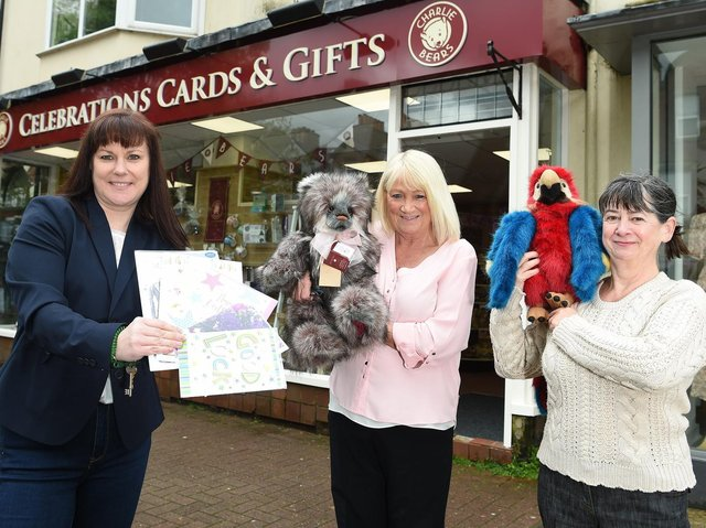 Celebrations owner Sandra Mangan outside the new Lytham shop with employees Annette Heywood and Sue Hankinson