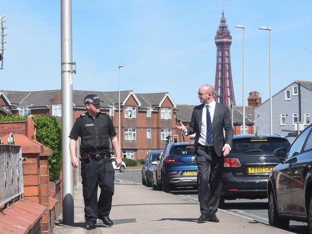 Sgt Mark Lancaster chats with PCC Andrew Snowdon in Blackpool
