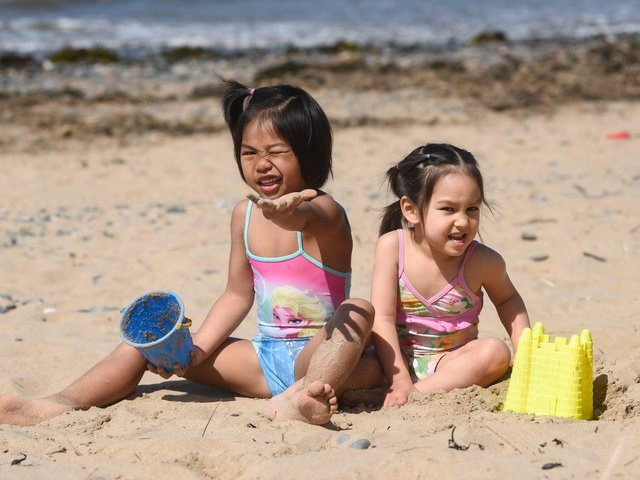 It's sunny weather in Blackpool for Gail, 5 and Gemma, 3