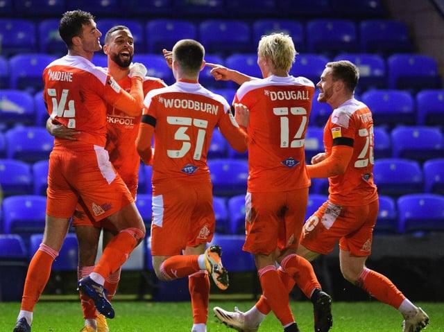Gary Madine and Blackpool celebrate the striker's late winner at Peterborough United