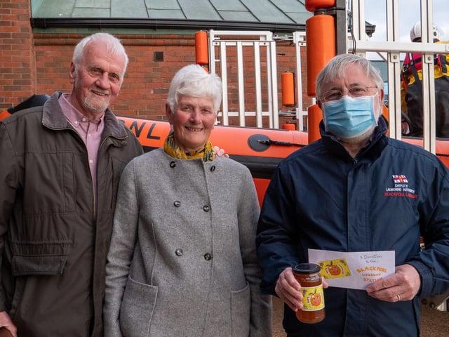Pat Porteus, Brian Porteus and Blackpool RNLI volunteer chairman Ian Butter