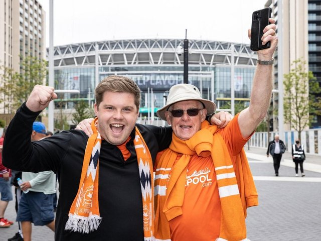 Blackpool fans enjoy the sunshine at Wembley before the match