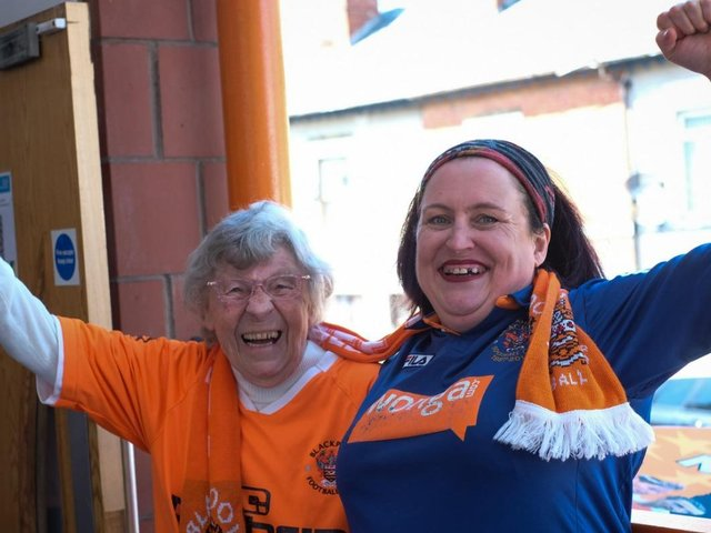 Blackpool fans watching the play off final at The Armfield Club, Bloomfield Rd on Sunday