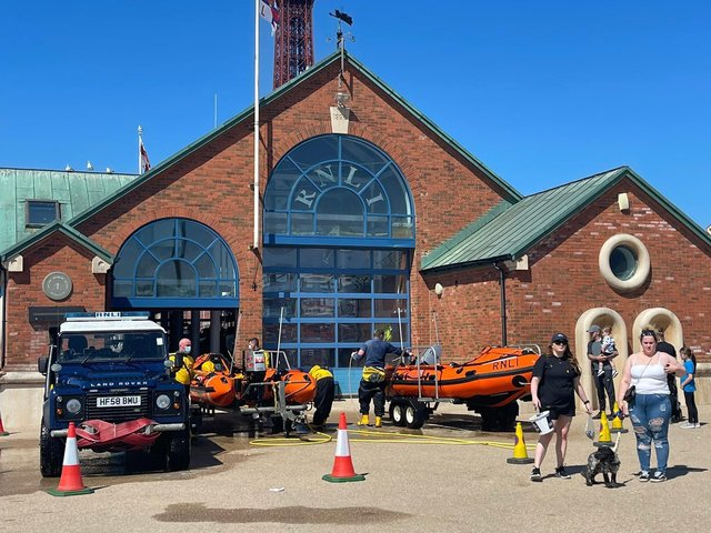 Lifeboat crews after the rescue near Comedy Carpet - RNLI Blackpool @RNLIBlackpool