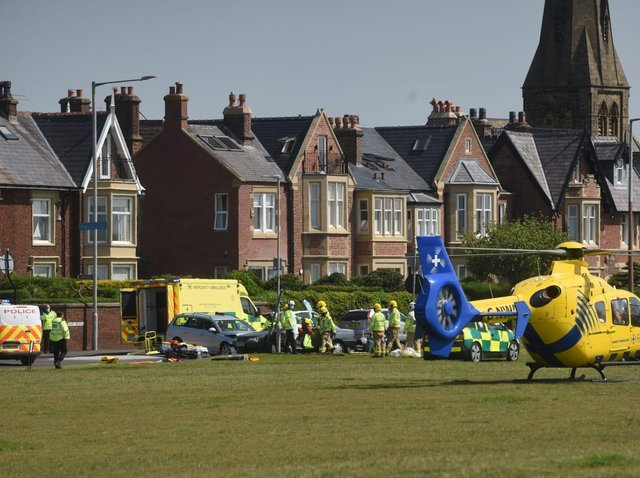 Emergency services including the air ambulance have responded to a crash in East Beach, Lytham today (Tuesday, June 1)