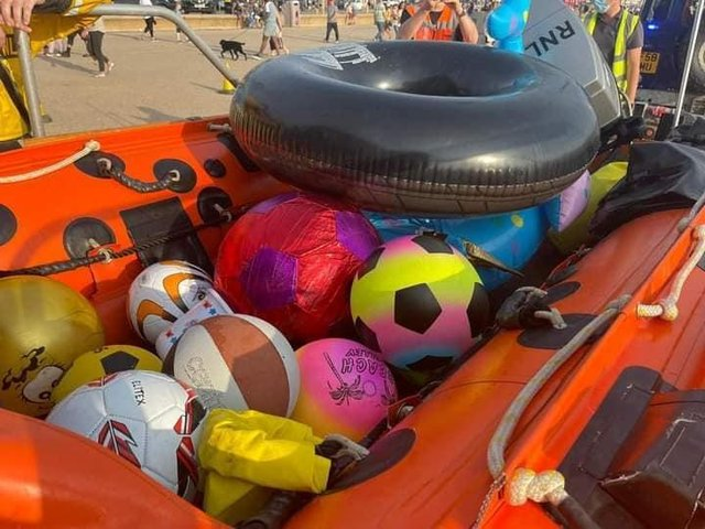 Inflatables retreived by Blackpool RNLI. Picture by Lytham coastguard