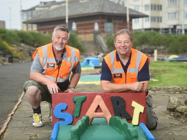 Princess Parade Crazy Golf Course has reopened.  Alan Abbott and Paul Rawson from Street Angels.