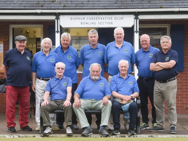 Bispham Cons; Back: Mel McCarthy, Vance Taylor, John Bee, Glyn Gowland, Rodney Rich, Mike Haworth, Dave Holyoake; Front: Stan Grundy, Geoff Mallinson, Stuart Brown.