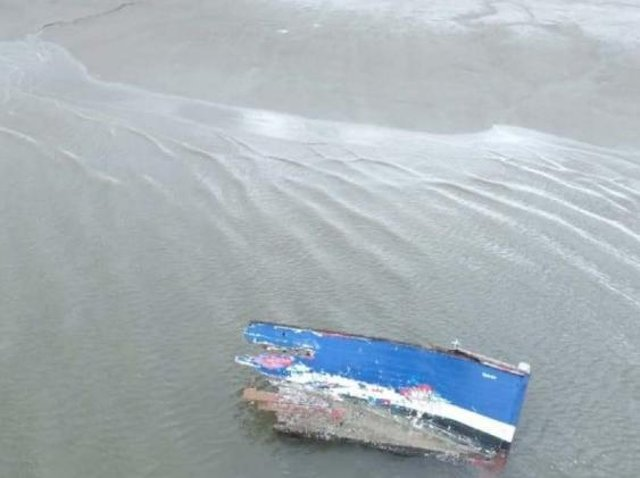 Wreckage washed up following the sinking of the Globetrotter