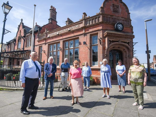 Lytham Heritage Committee members with artist Glynn Ward (pictured second from left)
