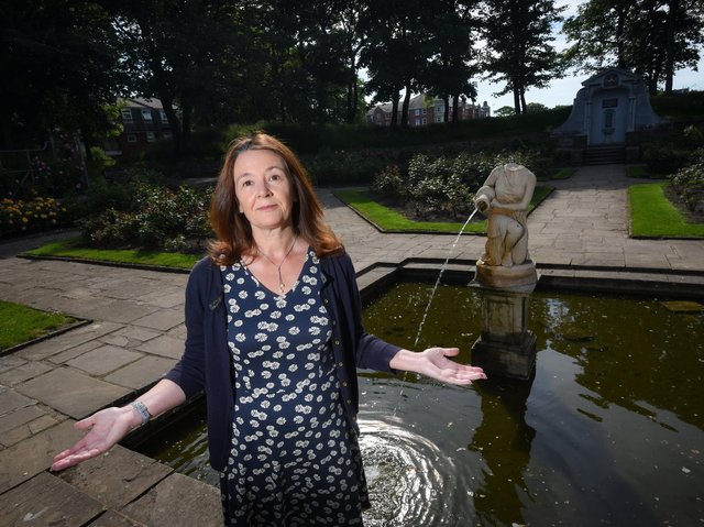 'Why do people behave like this?' - Coun Karen Buckley at the scene of the damaged statue in Ashton Gardens