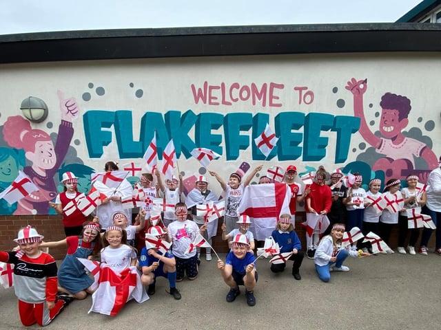 Flakefleet Primary pupils spur on the England team