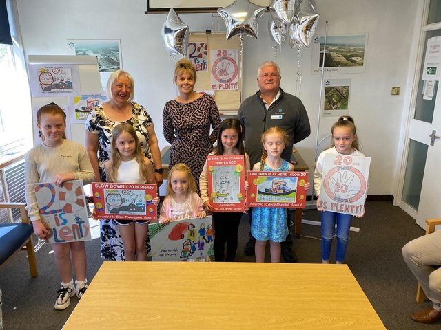 Hawley Gardens colouring competition winners with Mayor of Wyre Andrea Kay, Karen Archer from NPL Group, and deputy mayor Howard Ballard. Picture: NPL Group