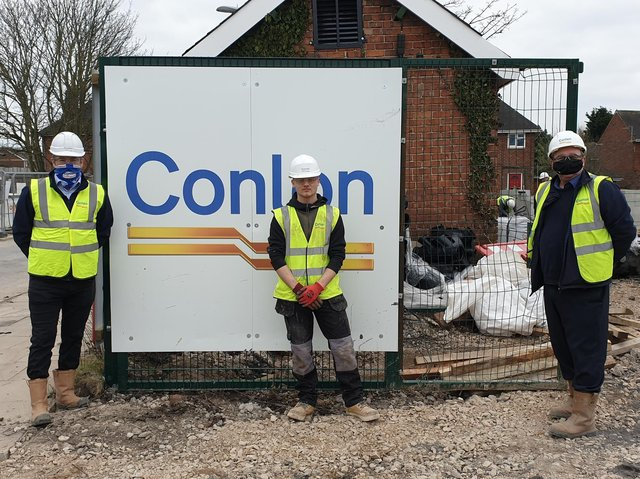 Conlon has started work on a £1.6m respite centre . Pictured left to right are Neil Conlon, Bradley Thompson of Blackpool and and project manager, Paul Dixon