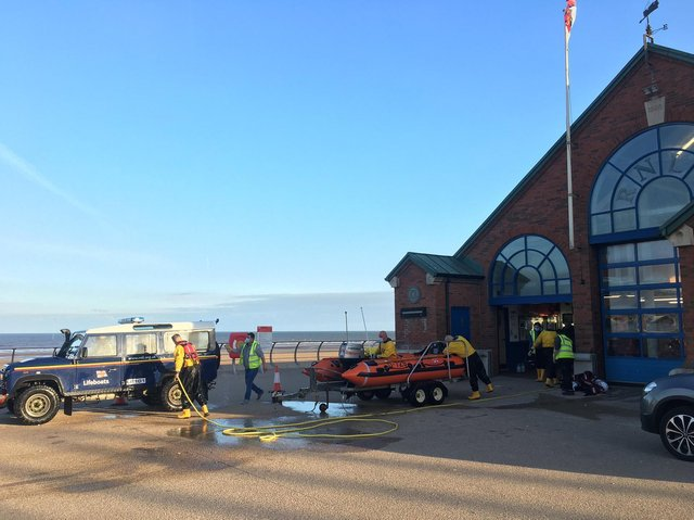The lifeboat returned to Blackpool RNLI station after the person reported to be in the sea was found safely on shore. Picture: Blackpool RNLI/Twitter