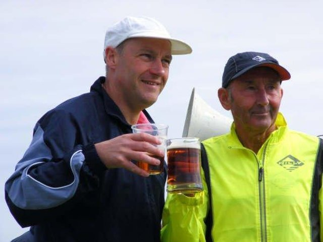Ron Hill, right,  with former Freckleton half marathon organiser Brian Porter