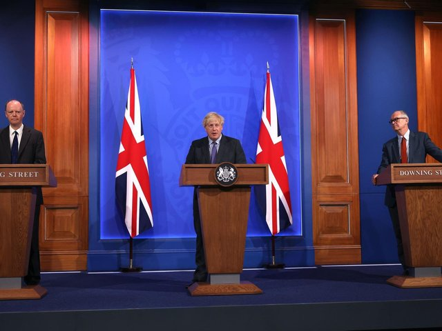 Chief Medical Officer Professor Chris Whitty, Prime Minister Boris Johnson and Chief scientific adviser Sir Patrick Vallance, during a media briefing in Downing Street, London, on coronavirus on July 14. Pic: PA