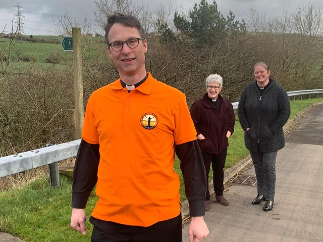 Bishop Philip preparing to set out on his marathon walk, with Rev. Linda Tomkinson from Mereside Church and Rev. Fiona Jenkins of St Bartholomew's in Chipping