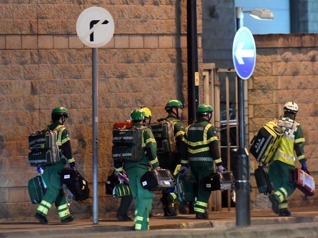Medics deploy at the scene of a reported explosion during a concert in Manchester, England on May 23, 2017