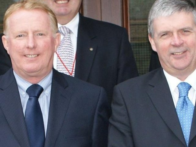 Peter Gibson (left) and Alan Vincent when they were Wyre Council colleagues
