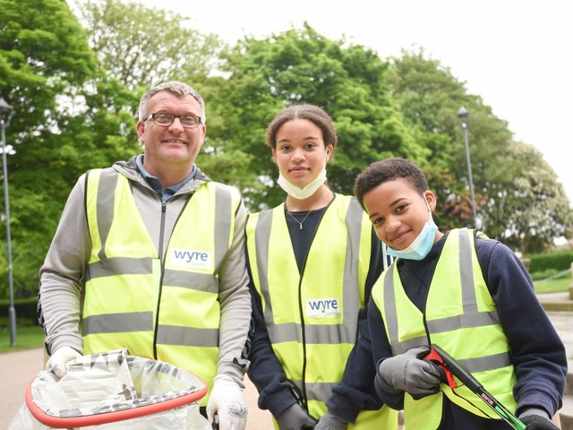 Great British Spring Clean in Fleetwood's Memorial Park.  David O'Neill with Sinead O'Neill, 13 and Ryan O'Neill, 11.