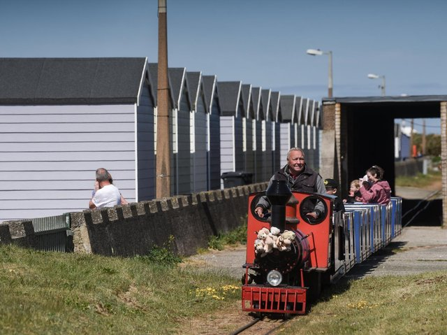 The miniature train and beach huts at St Annes