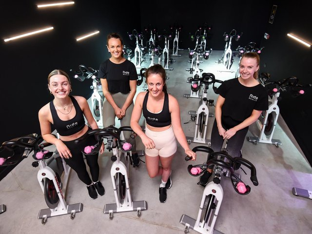 Left to right Josephine Box, Rebecca Morris, Sophie Lowe and Sarah Burgess at Ride and Sculpt and the Juice Club at Brooklands Way on Whitehills Business Park
