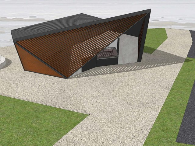 An artist's impression of the new building proposed to replace the kiosk at Fairhaven Lake