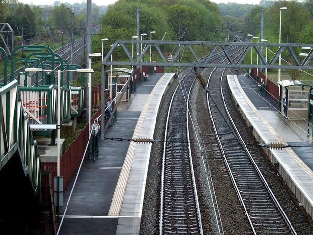 The railway line at Euxton