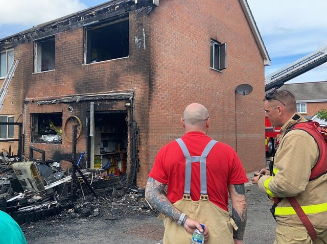 Firefighters spent 11 hours at the scene of the blaze which devastated the house in Trafalgar Place, Lytham