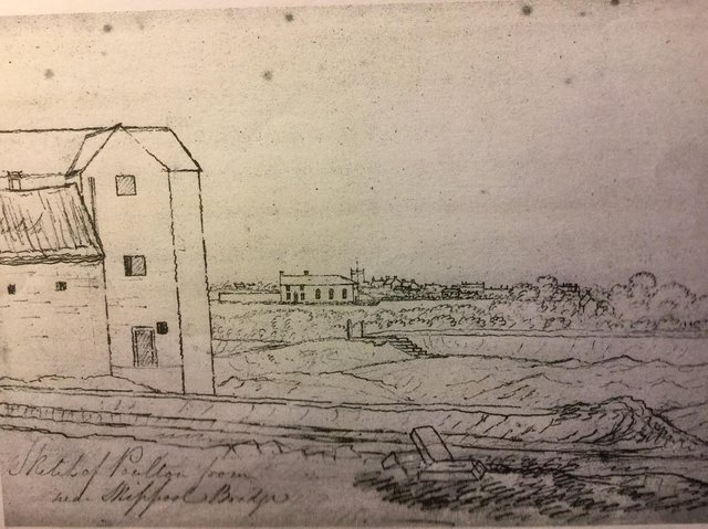 This rare sketch of Skippool Water Mill was penned by Captain William Latham in 1818. Image: Graham Evans