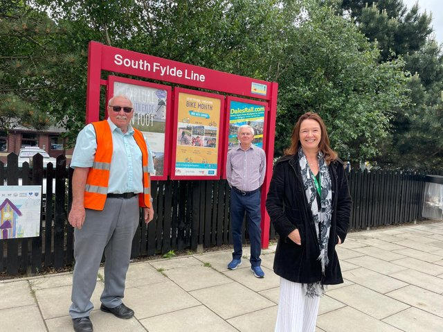 Tony Ford of the South Fylde Line Partnership (left) with Fylde and St Annes town councillor Vince Settle and Fylde Council leader Coun Karen Buckley.